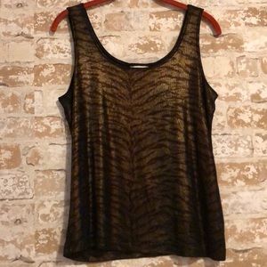 Chico' Travelers Tank Sz 1 Metallic Animal Print